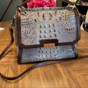 Brahmin Croc embossed top handle satchel in cream